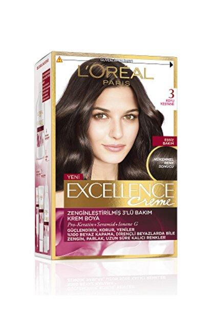 L'Oreal Paris Excellence Creme Saç Boyası 3 Koyu Kestane