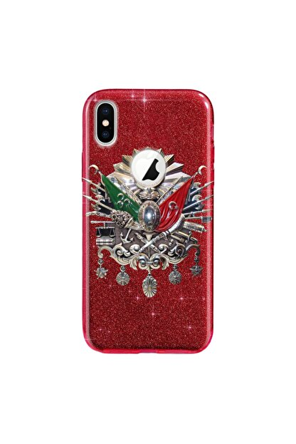Cekuonline Iphone X - Xs Kılıf Simli Shining Desenli Silikon Kırmızı - Stok772 - Osmanlı Imza