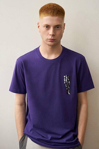 Bershka Erkek Mor Baskılı T-shirt