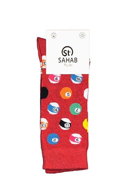 NeoandTeo Erkek Kırmızı Bilardo Desenli Çorap