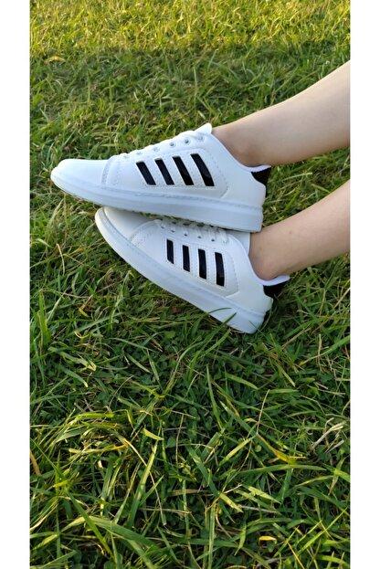 TangModa Kadın Beyaz Ortopedik Spor Ayakkabı