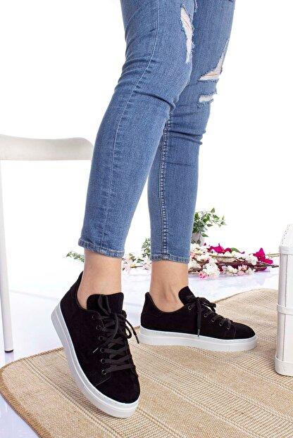 epaavm Kadın Siyah Beyaz Taban Süet Spor Ayakkabı