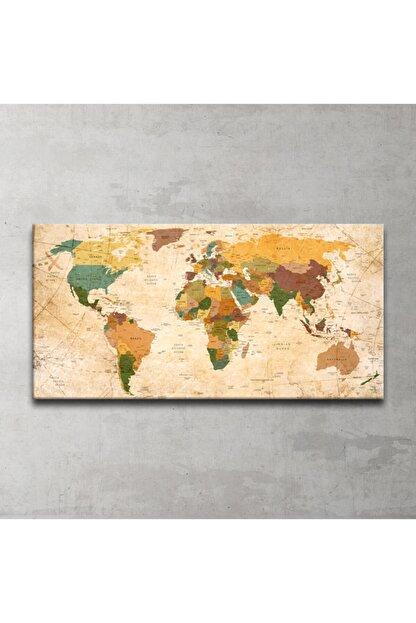Plustablo Güncel Dünya Haritası Kanvas Tablo 50x100 Cm.