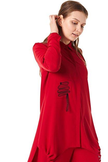 Nihan Kadın Kırmızı Pantolonlu Tunik Takım
