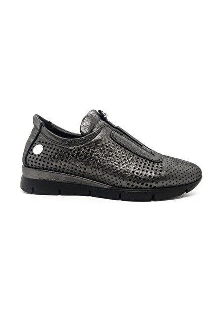 Mammamia Kadın Siyah-Platin Hakiki Deri Günlük Ayakkabı