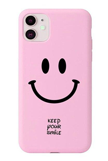 POFHİ Huawei P20 Lite Keep Your Smile Pembe Premium Telefon Kılıfı