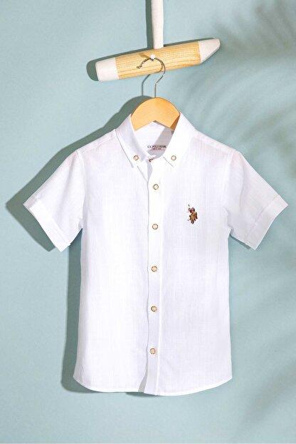 US Polo Assn Beyaz Erkek Çocuk Dokuma Gomlek