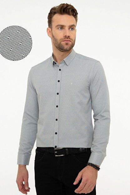 Pierre Cardin Erkek Gri Slim Fit Gömlek