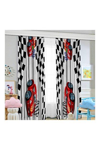 Jungle Yarış Arabalı 70x260 Çocuk Odası Fon Perde