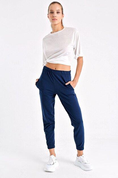 Tencrop Kadın Lacivert Yüksek Bel Cepli Yürüyüş Pantolonu