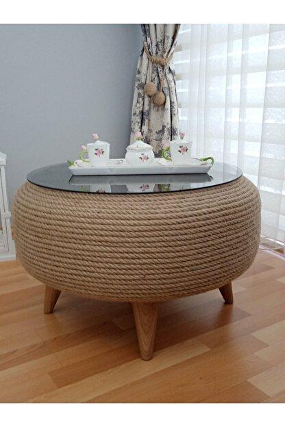 Doris Dekor Özel Tasarım Jüt, Kendir Halat Ip Hasır Dekoratif Orta Sehpa, Ev Dekorasyon Ürünleri