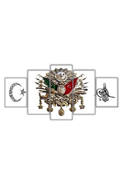 Tesbihname 5 Parça Ayyıldız Osmanlı Devlet Armalı Tuğralı Kanvas Tablo