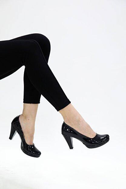 epaavm Kadın Siyah Rugan Klasik Topuklu Ayakkabı