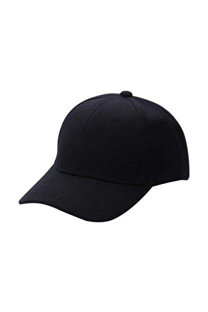 Cosmonis Siyah  Unisex Spor Şapka Unisex Arkası Cırtlı Ayarlanabilir 55-60 cm