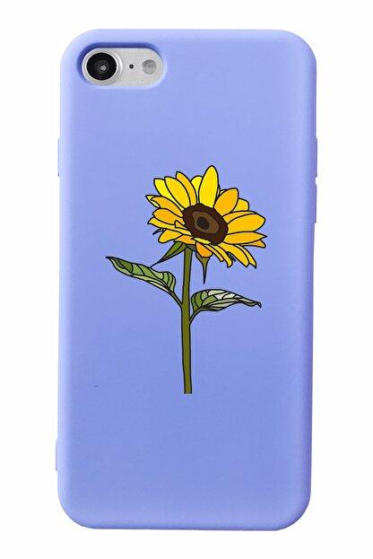 Mupity Ayçiçeği Tasarımlı Lila Lansman Kılıf Iphone 7-8-se2020 Uyumlu
