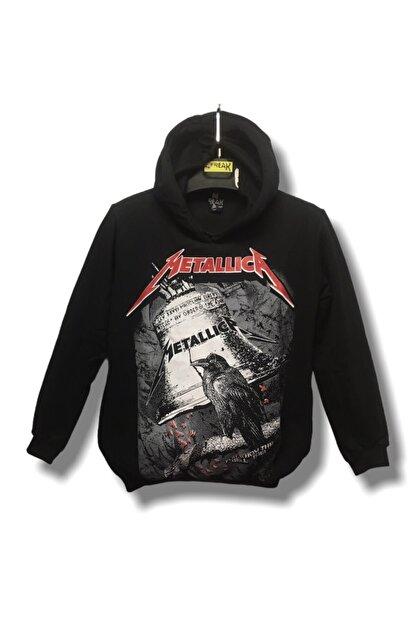 Freak Siyah Metallica Baskılı  Sweatshirt