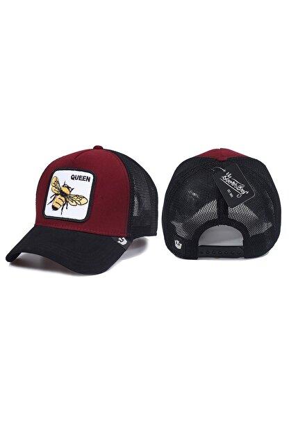 Trucker Arı Model Hayvan Desenli Şapka Bordo Siyah