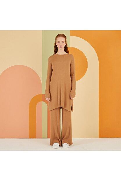 Nuss Kadın Camel Triko Takım