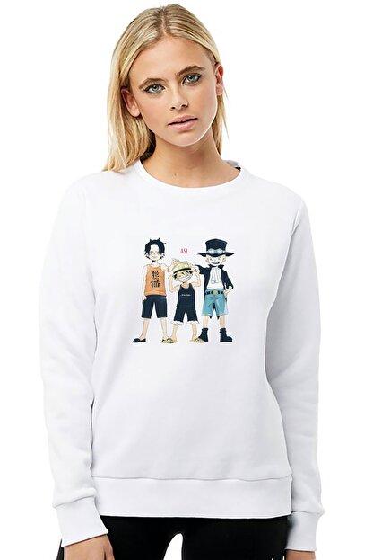 Collage Kadın Beyaz Uzun Kol Anime One Piece Boku Dake Ga Baskılı Örme Sweatshirt