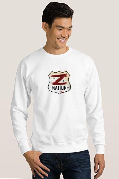 Collage Z Nation Baskılı Beyaz Erkek Örme Sweatshirt Uzun Kol