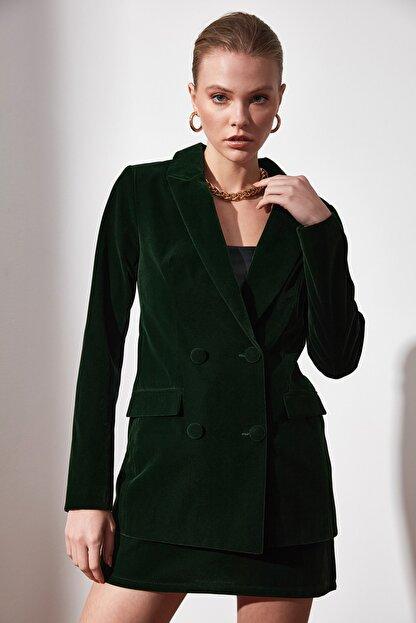 TRENDYOLMİLLA Yeşil Düğme Detaylı Blazer Ceket TWOAW20CE0367