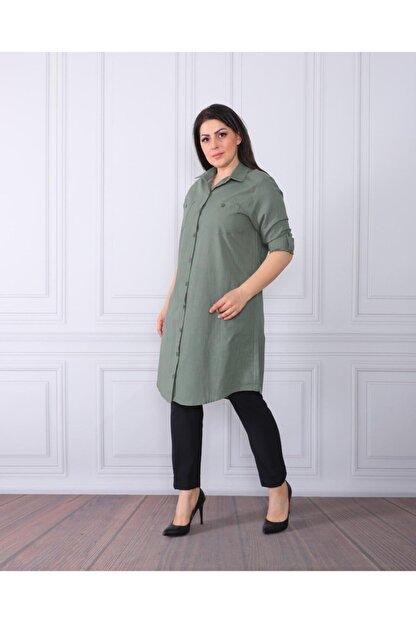 By Alba Collection Kadın Yeşil  Pamuk Keten Büyük Beden Tunik