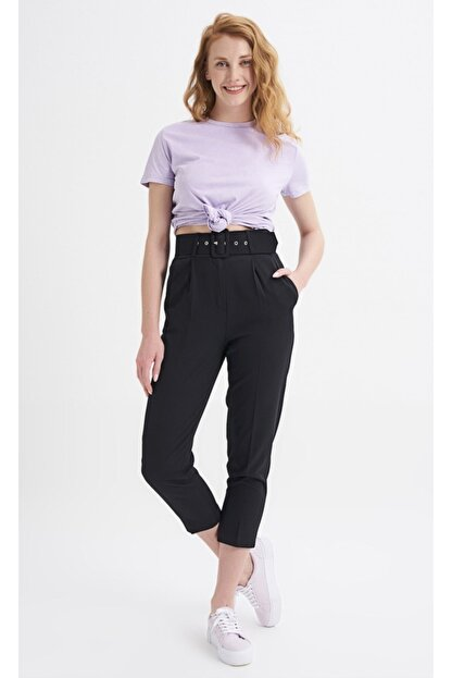 Quzu Kadın Siyah Kemerli Pantolon