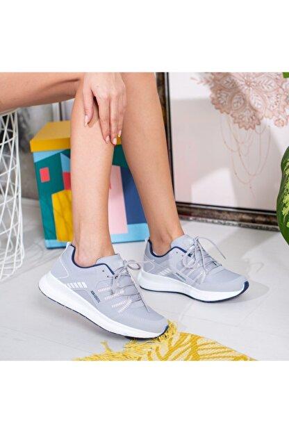 Olivo Butik Kriti Mat Deri Kalın Taban Bağcık Detaylı Spor Ayakkabı Gri