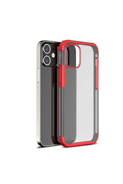 Pickcase Apple Iphone 12 Pro 6.1 Kılıf Kamera Korumalı Arkası Mat Kenarları Kırmızı Arka Kapak