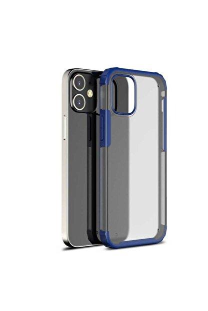 Pickcase Apple Iphone 12 Pro 6.1 Kılıf Kamera Korumalı Arkası Mat Kenarları Lacivert Arka Kapak