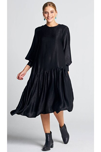 AIGYN Kadın Siyah Asimetrik Trend Saten Elbise