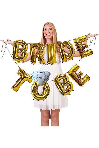 Patladı Gitti Tek Taşlı Bride To Be 9 Adet Harf Gold Renk Folyo Balon Seti, Bride To Bee Parti Kutlama