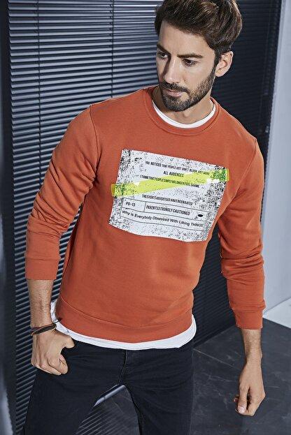 Sateen Men Erkek Koyu Oranj Plastik Şerit Baskılı Sweat