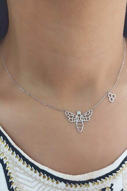 CREO Kadın Beyaz 925 Ayar Gümüş Arı Kolye