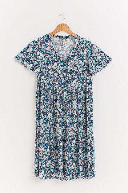 LC Waikiki Kadın Yeşil Baskılı Elbise 0WET32Z8
