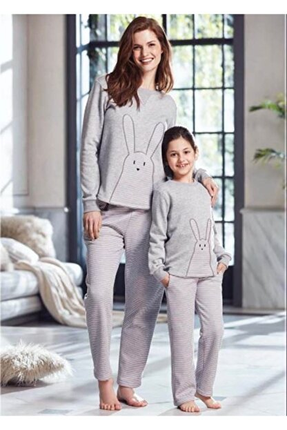 Penye Mood Kadın Gri Pijama Takımı Ev Kıyafeti