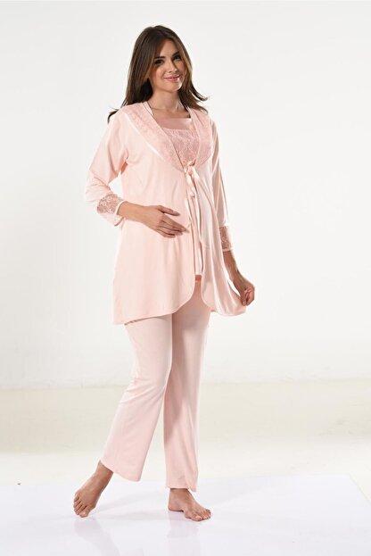 Miss Dünya Lissa Kadın Somon Dantel Detaylı Hamile Pijama Takımı