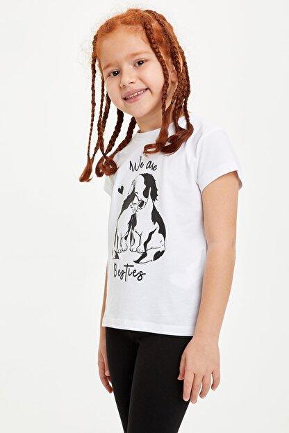 Defacto Kız Çocuk Baskılı Kısa Kollu Tişört