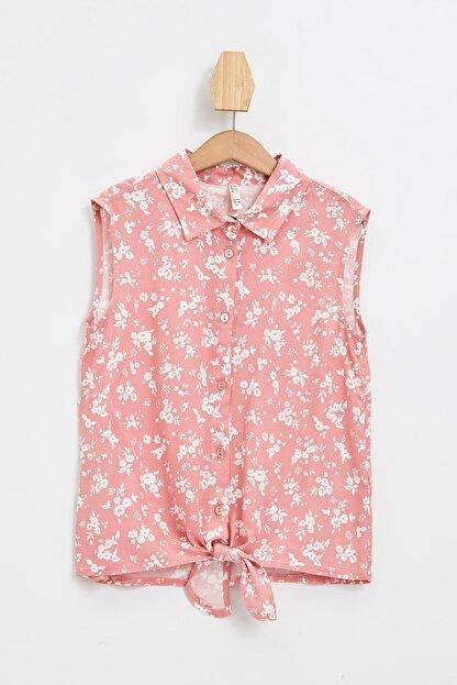 Defacto Kız Çocuk Çiçek Desenli Bağlama Detaylı Kolsuz Gömlek