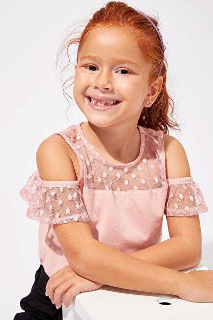 Defacto Pembe Kız Çocuk  Omzu Açık Kısa Kollu T-Shirt