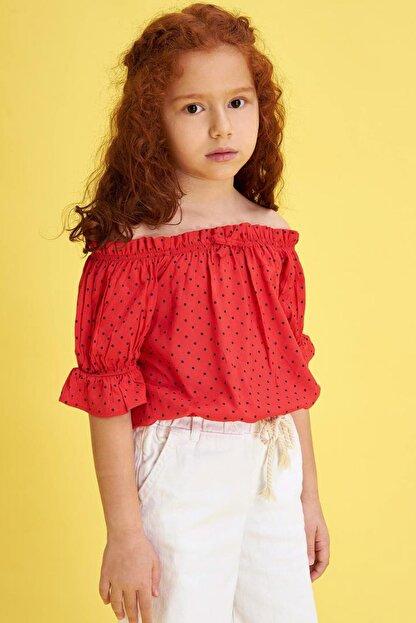 Defacto Kız Çocuk Puantiyeli Kısa Kol Bluz