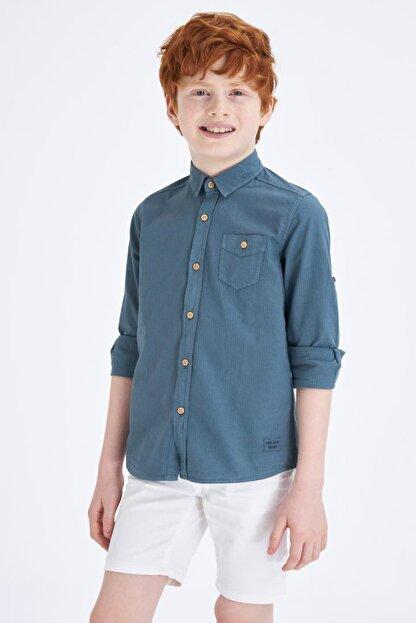 Defacto Erkek Çocuk Tek Cepli Kolu Katlamalı Pamuklu Gömlek
