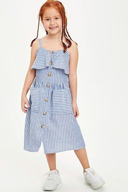 Defacto Kız Çocuk Çizgili Düğmeli Dokuma Elbise