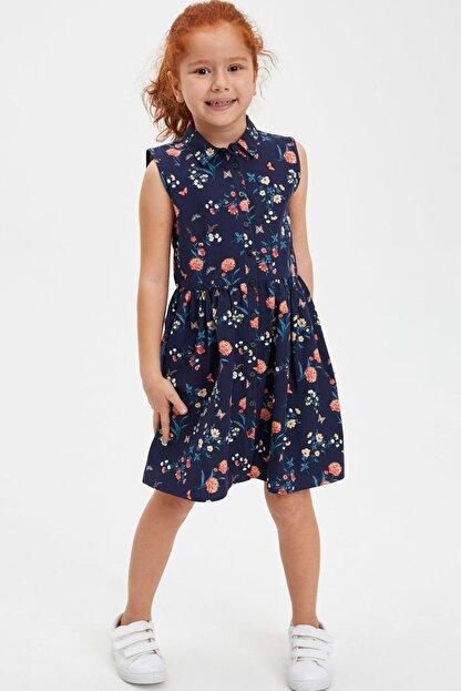 Defacto Kız Çocuk Baskılı Düğmeli Kolsuz Dokuma Elbise