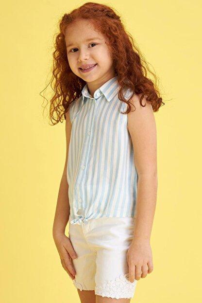 Defacto Kız Çocuk Bağlama Detaylı Çizgili Kolsuz Gömlek