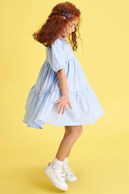 Defacto Kız Çocuk Relax Fit Kısa Kollu Dokuma Elbise