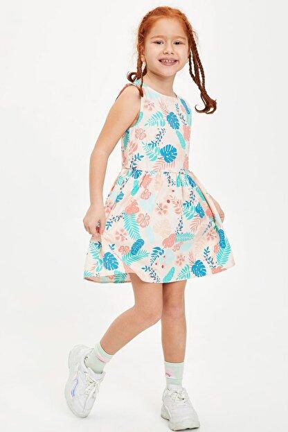 Defacto Kız Çocuk Çiçek Desenli Kolsuz Elbise