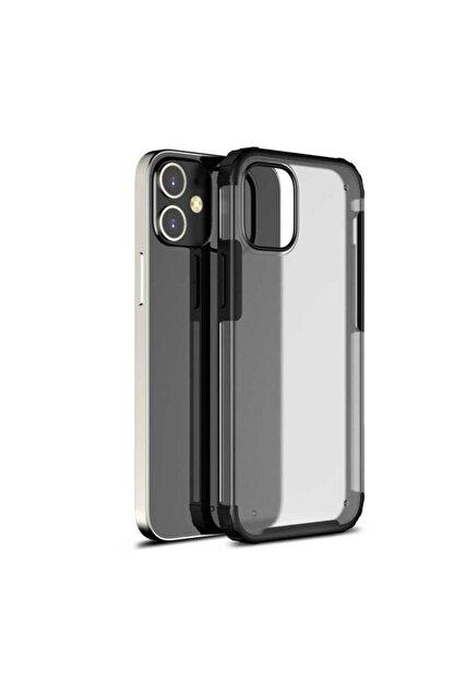 Pickcase Apple Iphone 12 Pro 6.1 Kılıf Kamera Korumalı Arkası Mat Kenarları Siyah Arka Kapak