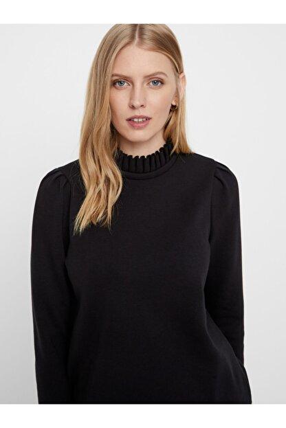 Vero Moda Kadın Siyah Yaka Detaylı Sweatshirt 10206533 VMFOREST