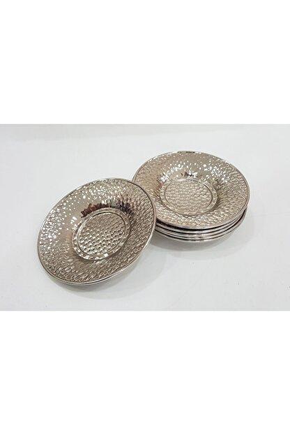 Manor 6 Adet Altın Gümüş Renk Çukur Nokta Desen Metal Çay Tabağı